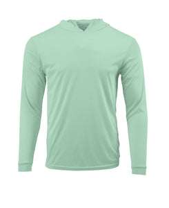 (NO LOGO) PLAIN HOODED - MINT GREEN - 50+ UPF - Long Sleeve Performance Shirt - 100% Polyester - FREE DELIVERY