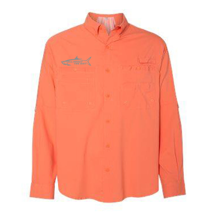 PAPAYA - Button Up Long Sleeve Guide Shirts - UPF 40 - AATB Embroidery Logo - FREE SHIPPING