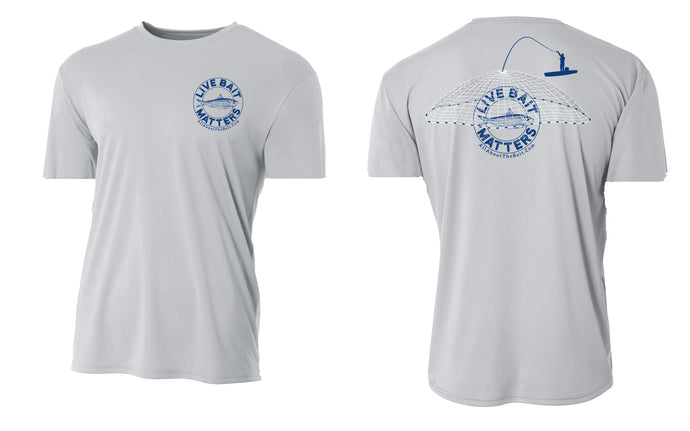 (NEW) LIVE BAIT MATTERS - SILVER - SHORT Sleeve Performance Shirt - 100% Polyester- FREE DELIVERY
