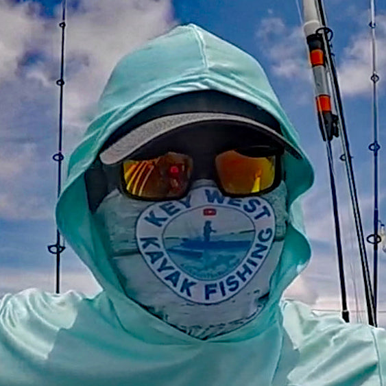 LIVE BAIT MATTERS HOODED - Aqua Blue - 50+ UPF - Long Sleeve Performance Shirt - 100% Polyester - FREE DELIVERY