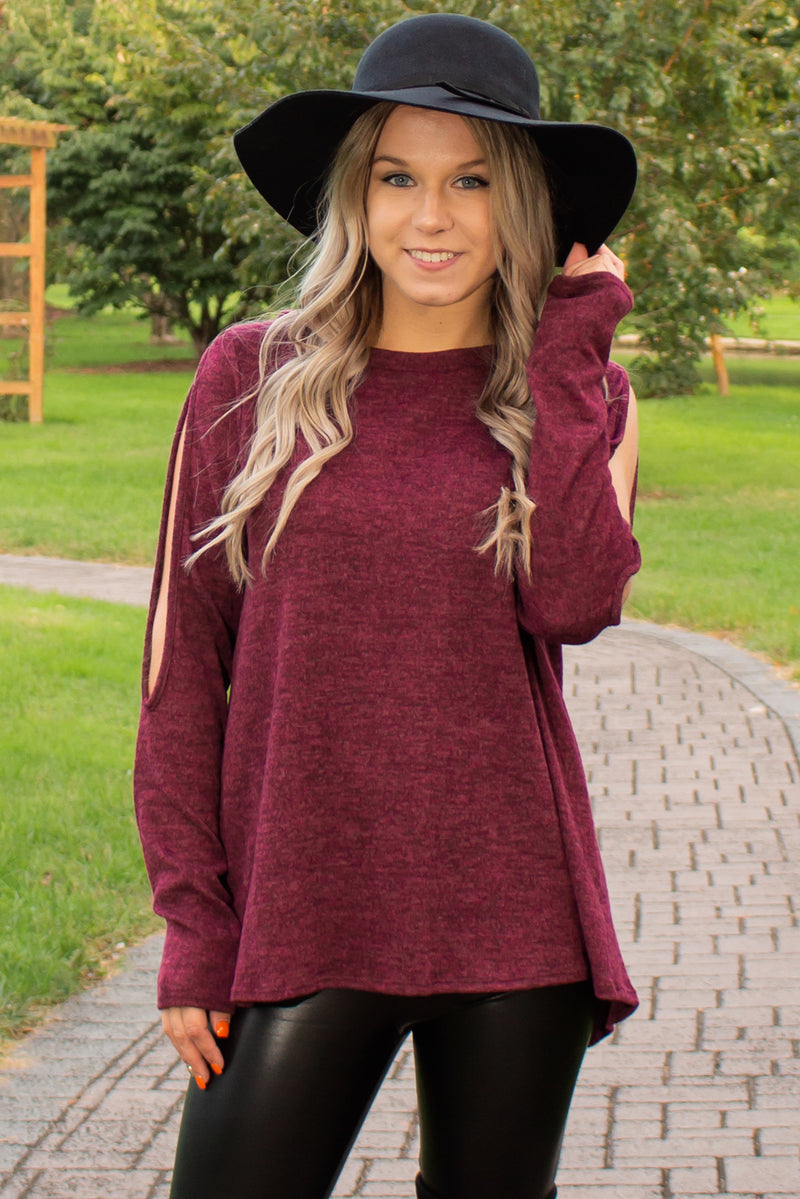 Trendy tops, Trendy burgundy tops, sweater