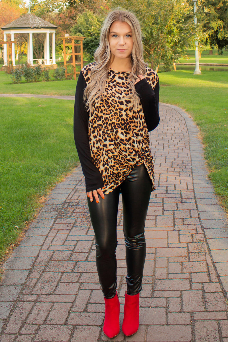 Leopard Print Shirt, Long sleeve top