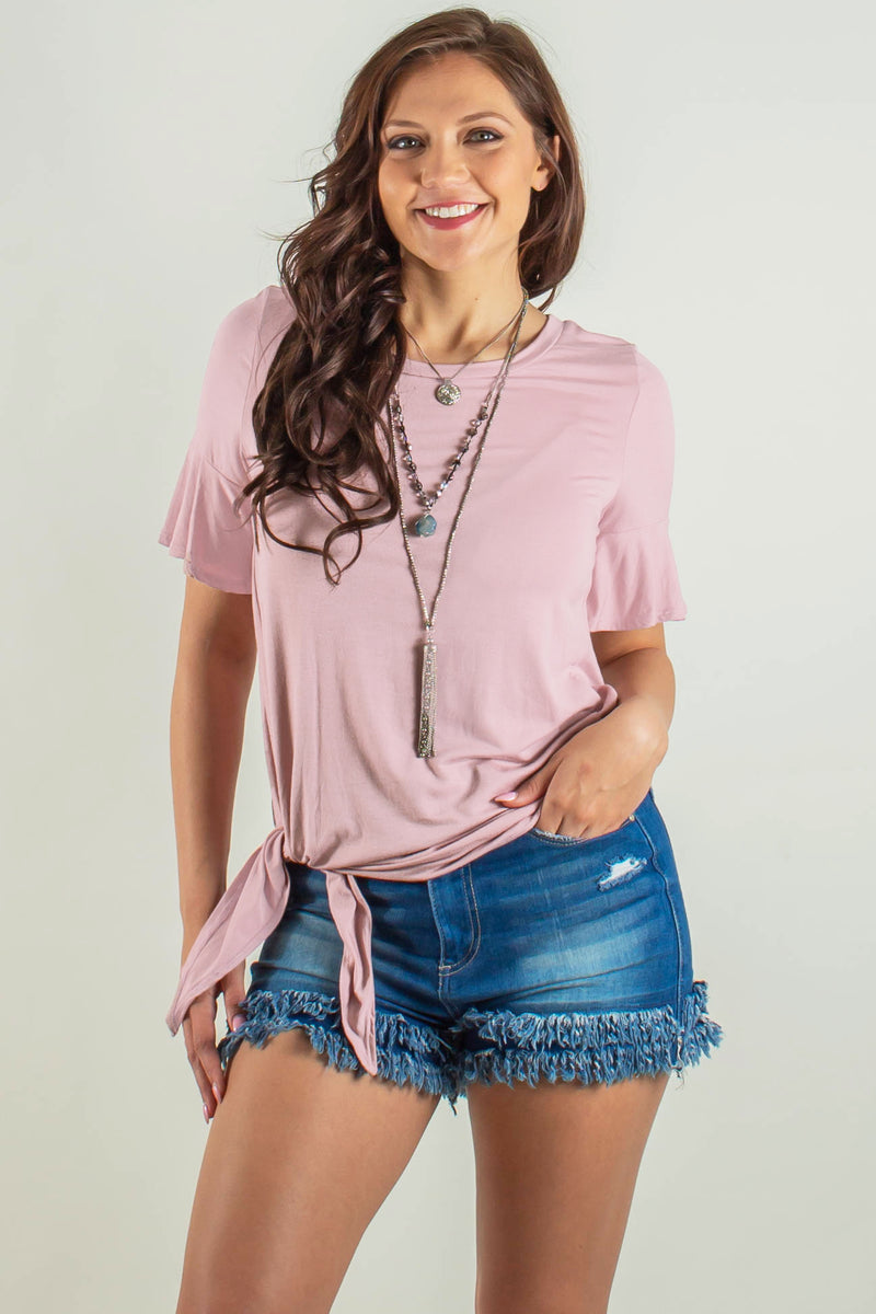 Cute light pink blouse, Cute side tie top, Cute pink tee