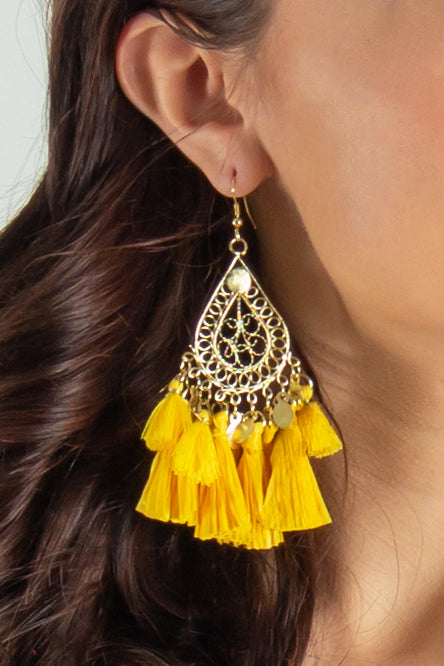Talk It Up Teardrop Tassel Earrings (Teal)