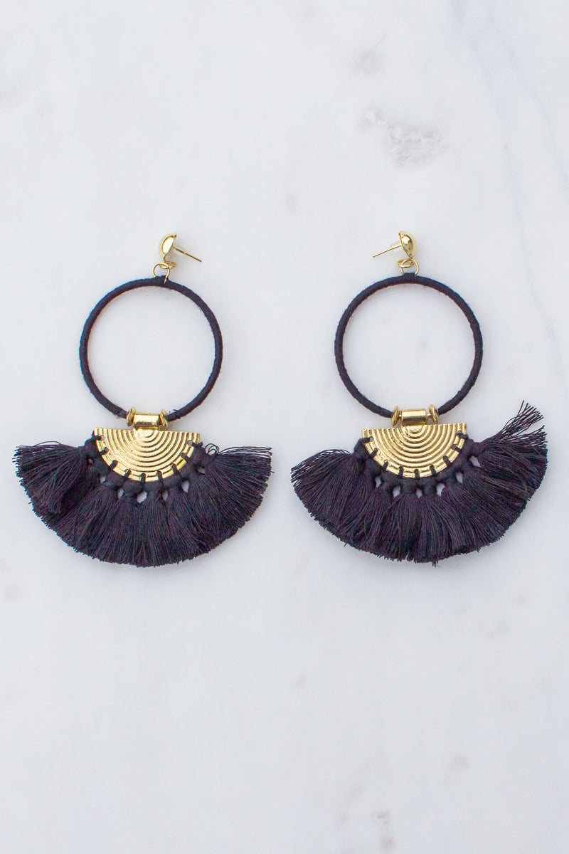 Make It Sweet Hoop Drop Tassel Earrings (Black)