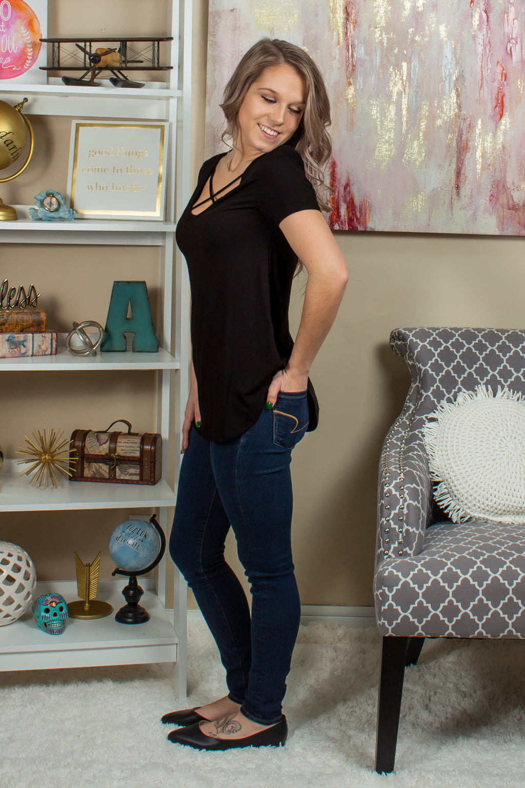 Black boutique top, Black blouse, Black tee