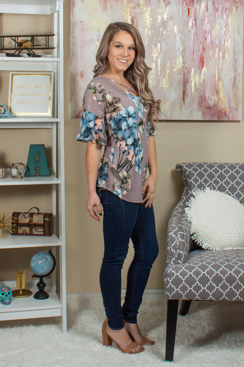 Cute floral blouse, Cute taupe floral top, Cute taupe floral blouse