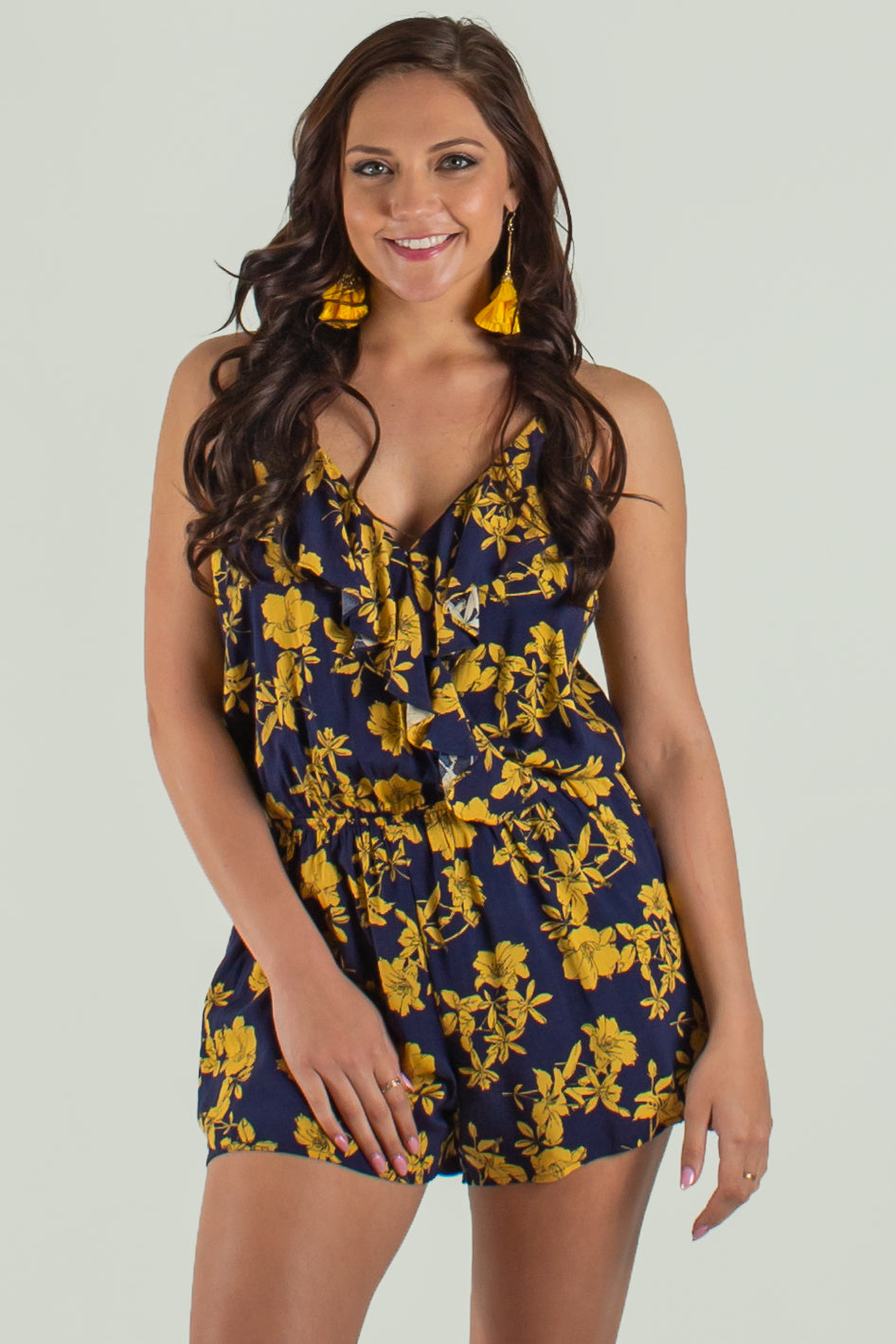 Blue floral romper, Blue and yellow romper, blue yellow romper blue yellow floral romper, blue and yellow floral romper