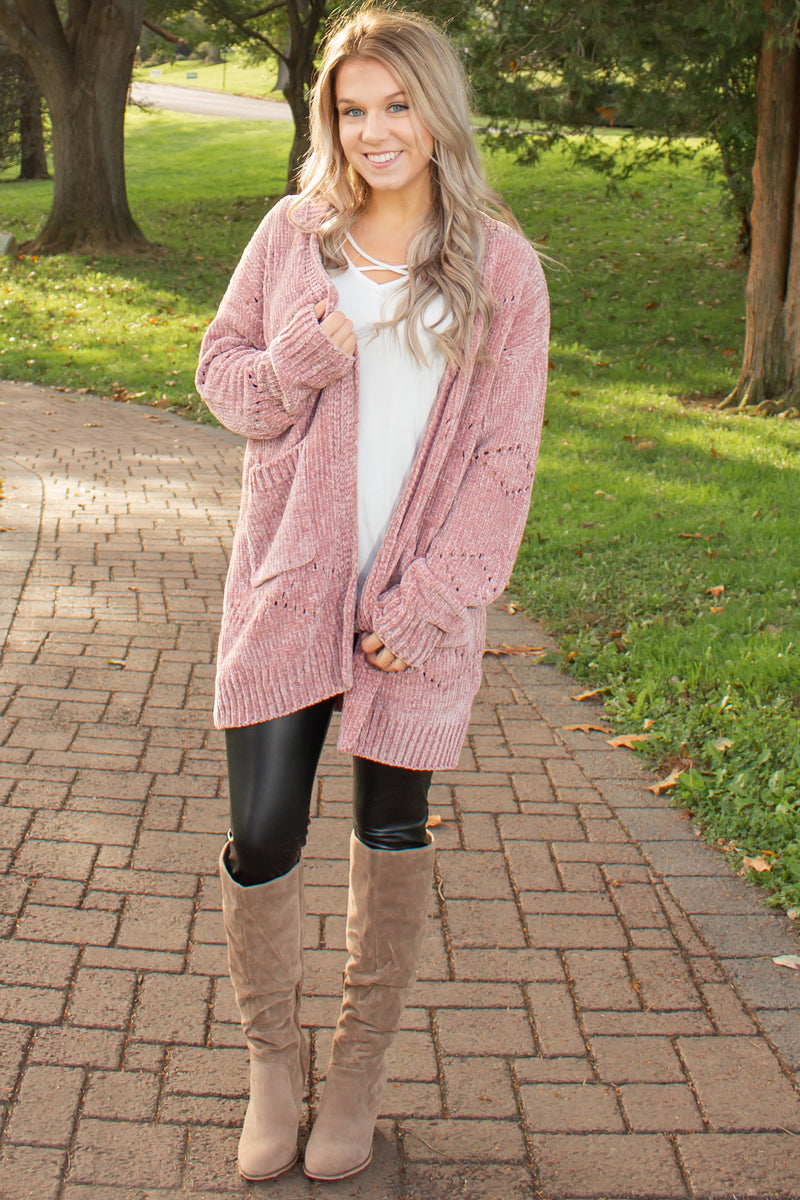 Blush chenille sweater, Trendy cardigan, Trendy cardi