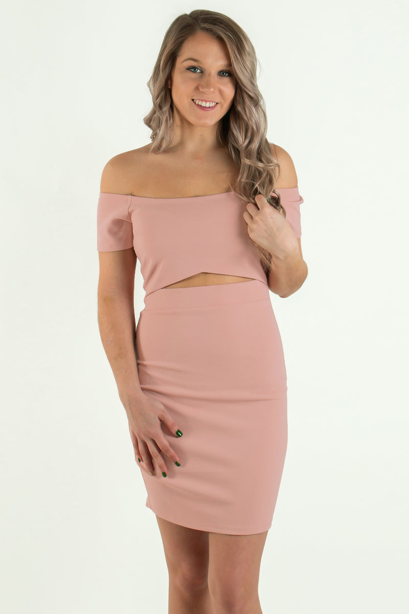 pink off the shoulder dress, pink bodycon, pink Bodycon Dress, pink Cutout Bodycon Dress