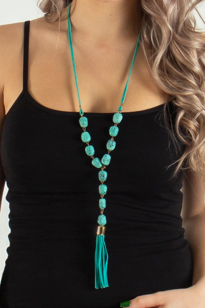 Around the River Gemstone Tassel Necklace (Turquoise)
