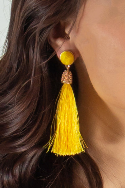 yellow earrings, yellow tassel earrings, boutique earrings, fashion earrings