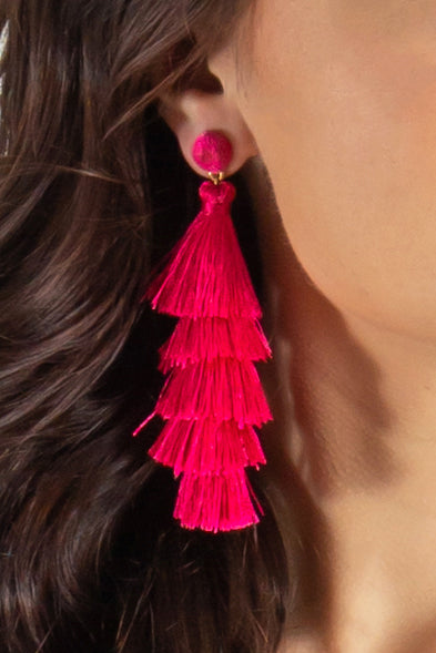 Get To Me Tassel Earrings (Purple)