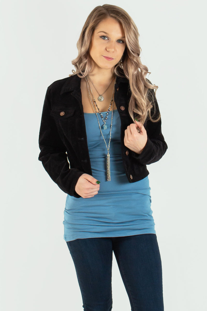 black jacket, black cropped jacket