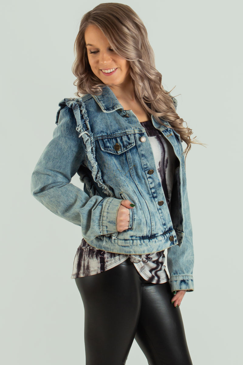cute ruffle denim jacket, boutique jackets