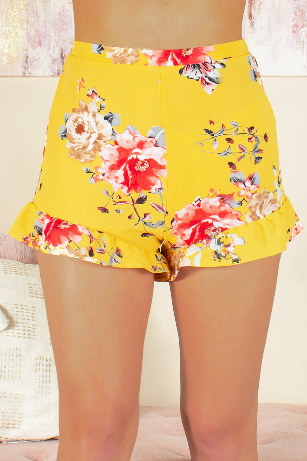 Yellow shorts, Yellow floral shorts, Fabric shorts, Yellow fabric shorts