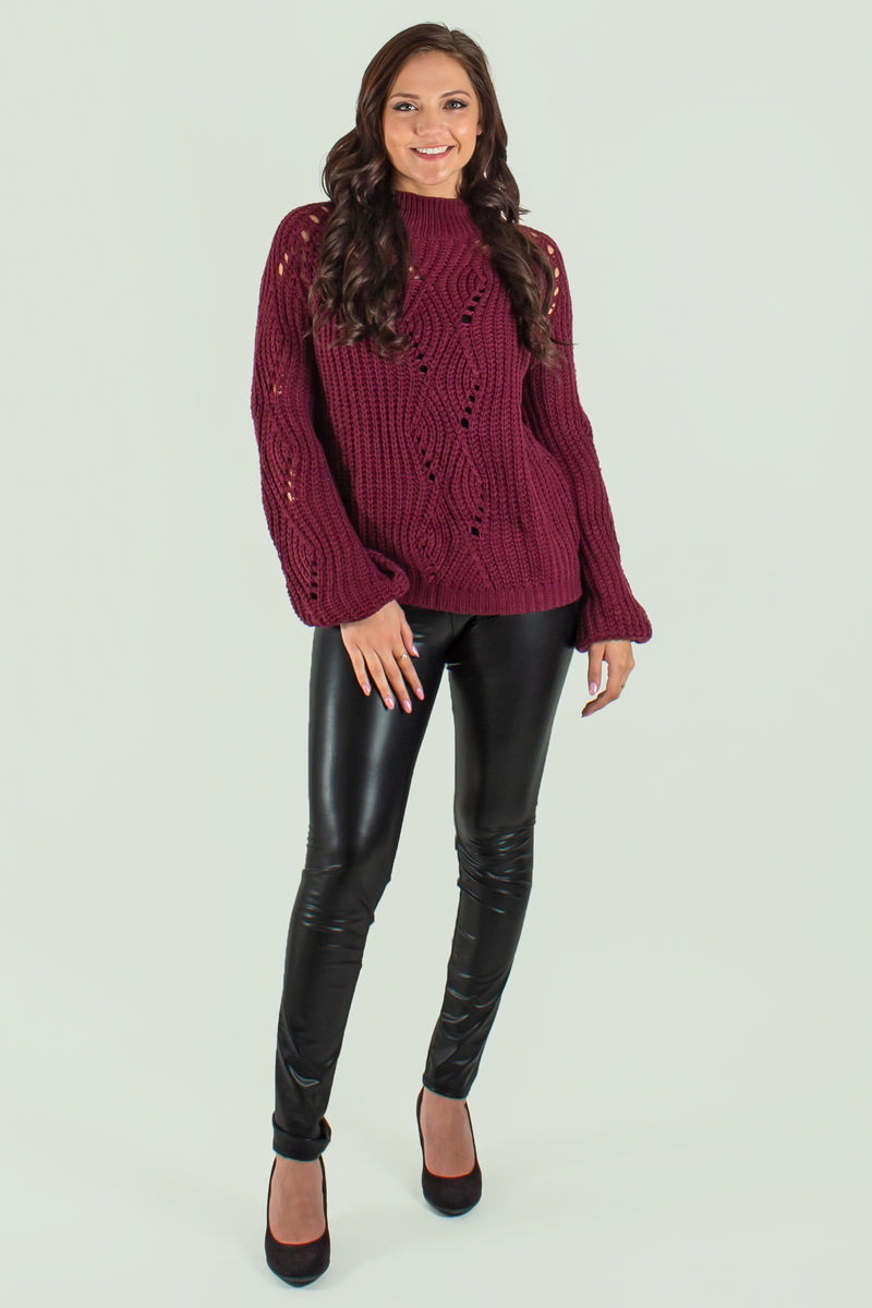 trendy red sweater, trendy maroon sweater