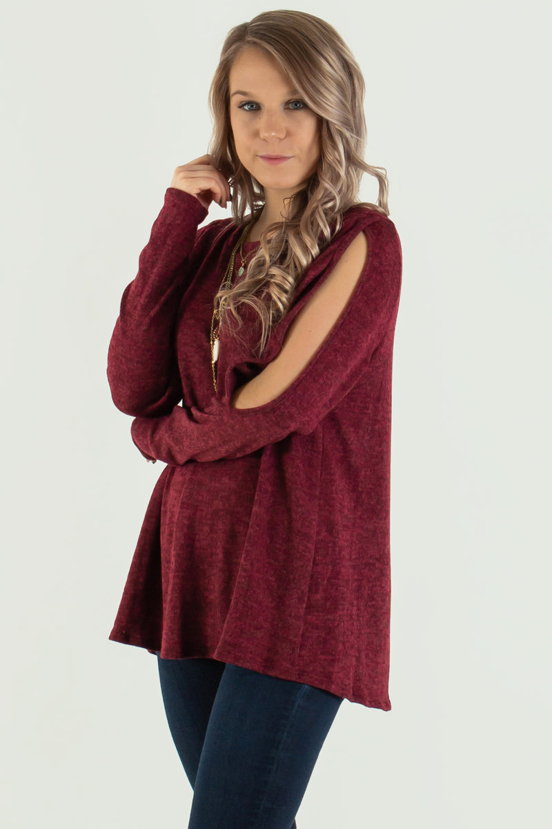 Cute burgundy sweater, Cute burgundy top