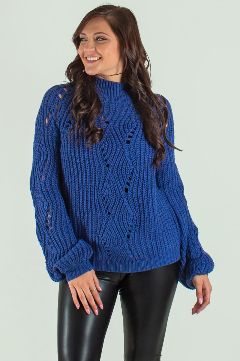 cutout navy sweater, mock neck sweater