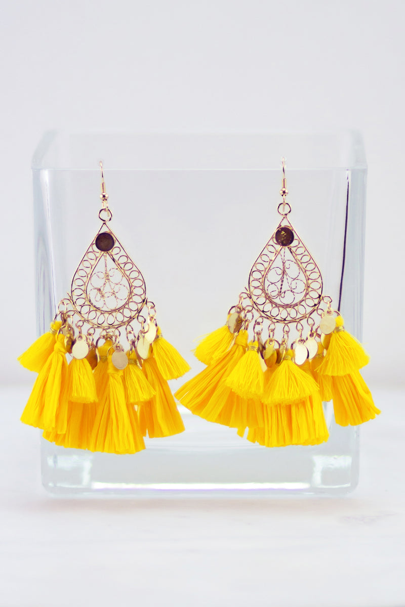 Talk It Up Teardrop Tassel Earrings (Yellow)