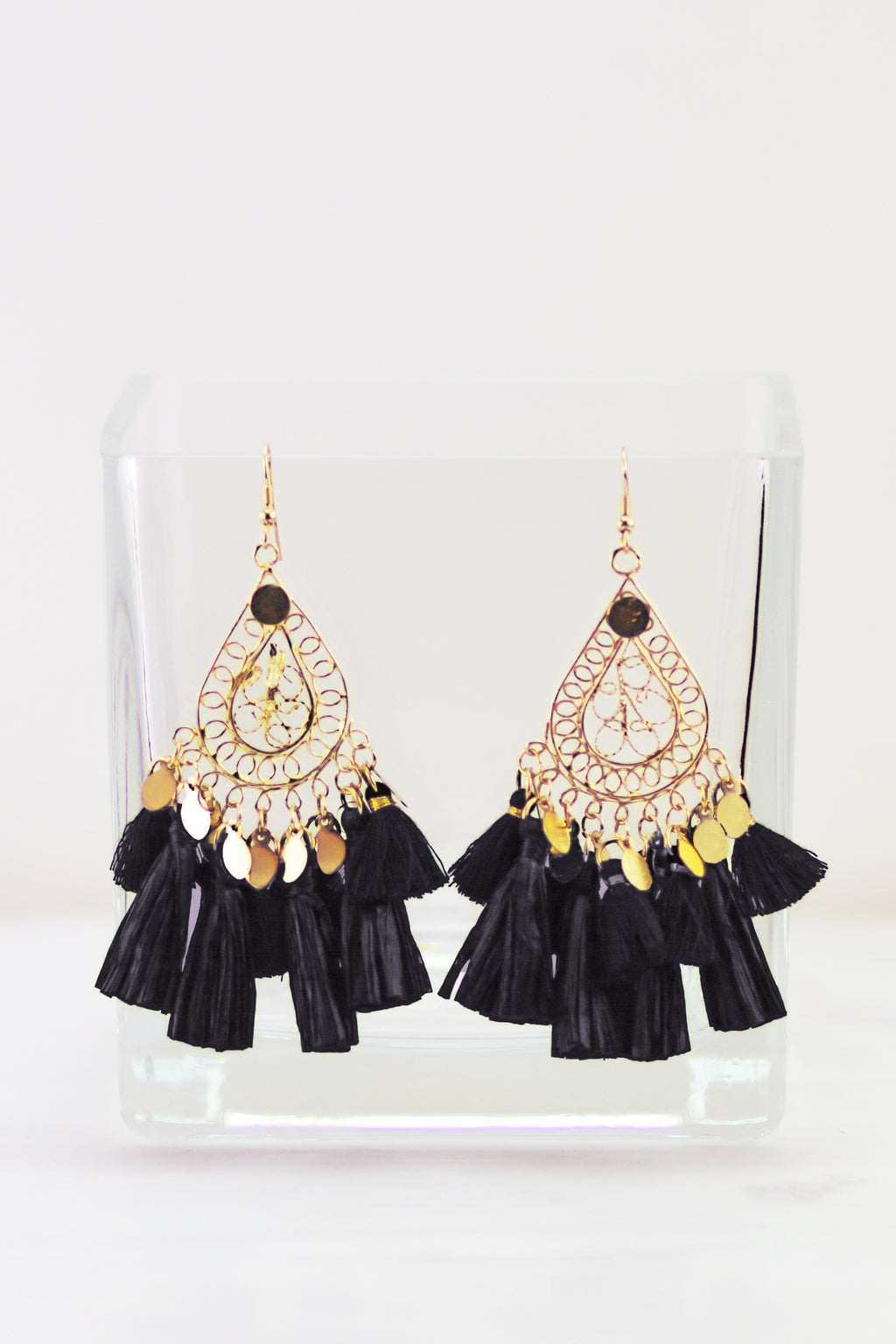 Talk It Up Teardrop Tassel Earrings (Black)
