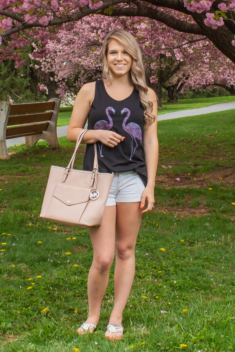 spring tank top, spring flamingo tank top