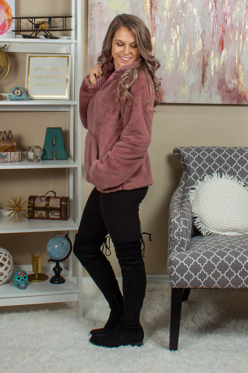 pink top, mauve top, pink pullover, mauve pullover