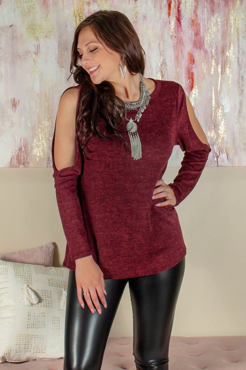 red sweater, Burgundy top