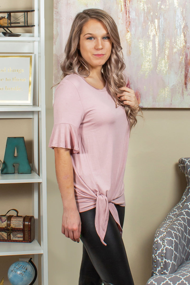 light pink side tie top, pink tee