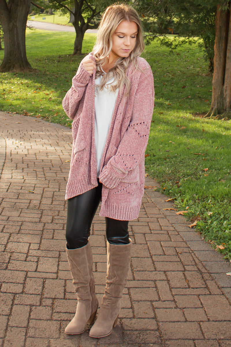Womens blush chenille cardigan, Chenille sweater, Pink chenille sweater