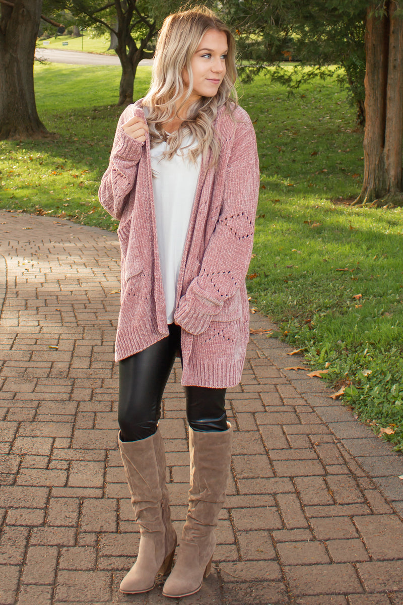 Womens chenille cardigan, Womens blush cardigan, Womens pink chenille cardigan