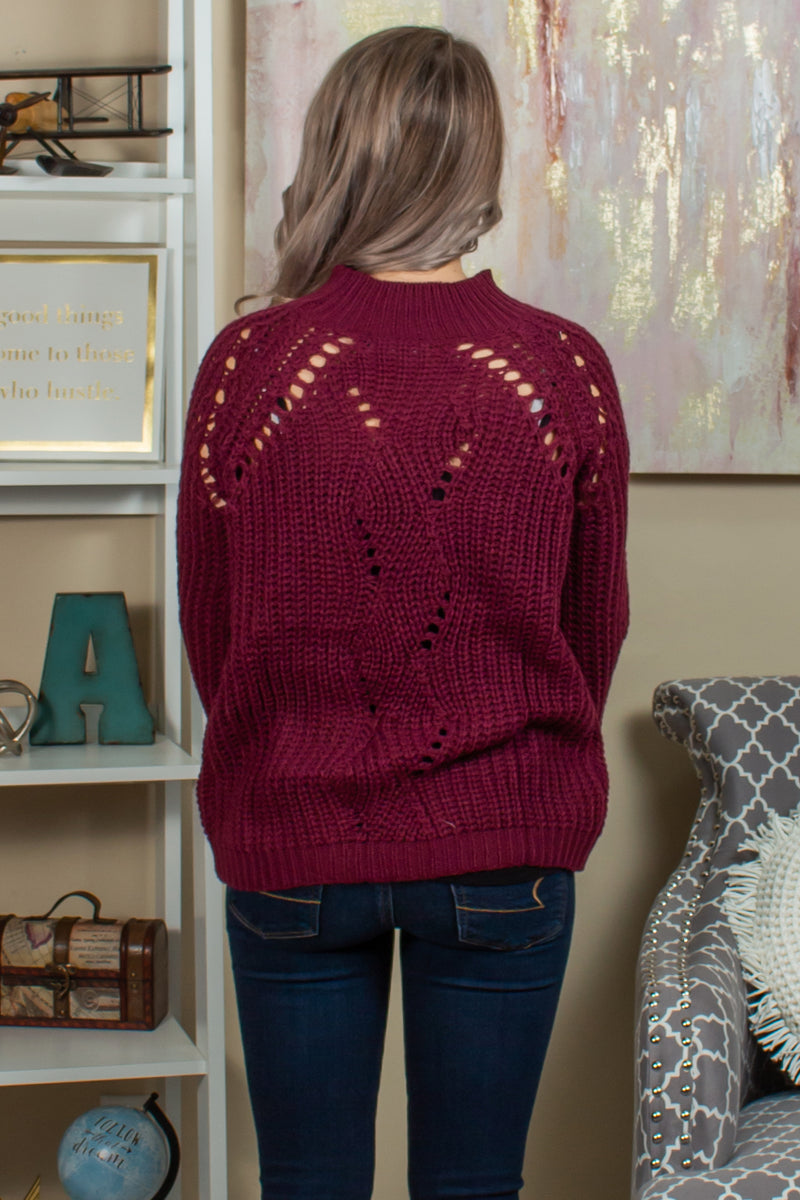 boutique sweaters, burgundy boutique sweater, maroon boutique sweater