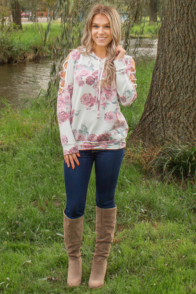 Cute cold shoulder top, Floral hoodie