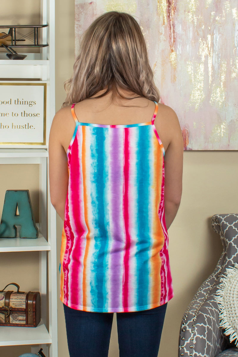 Trendy multicolored striped top, Trendy colorful top, Trendy colorful tank top, Trendy colorful striped tank top