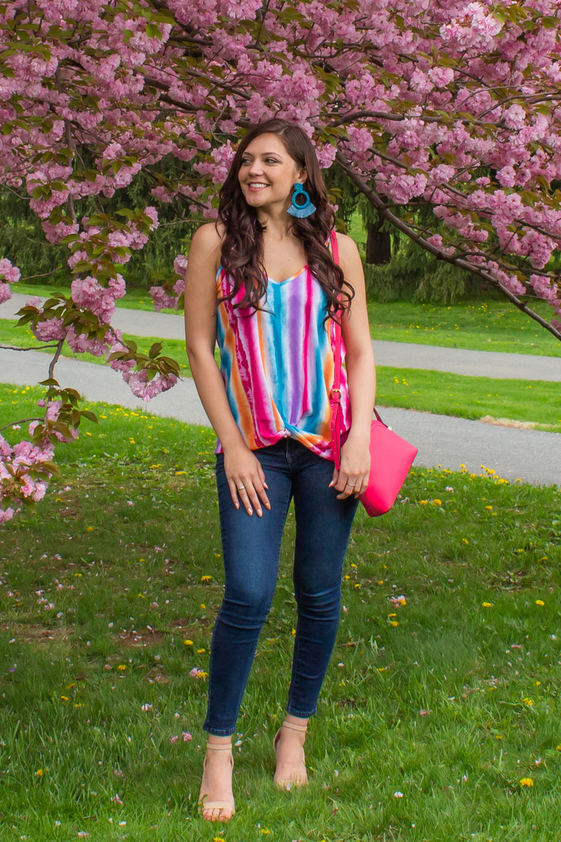 Cute colorful top, Cute colorful striped top, Cute colorful striped tank, Trendy tank top