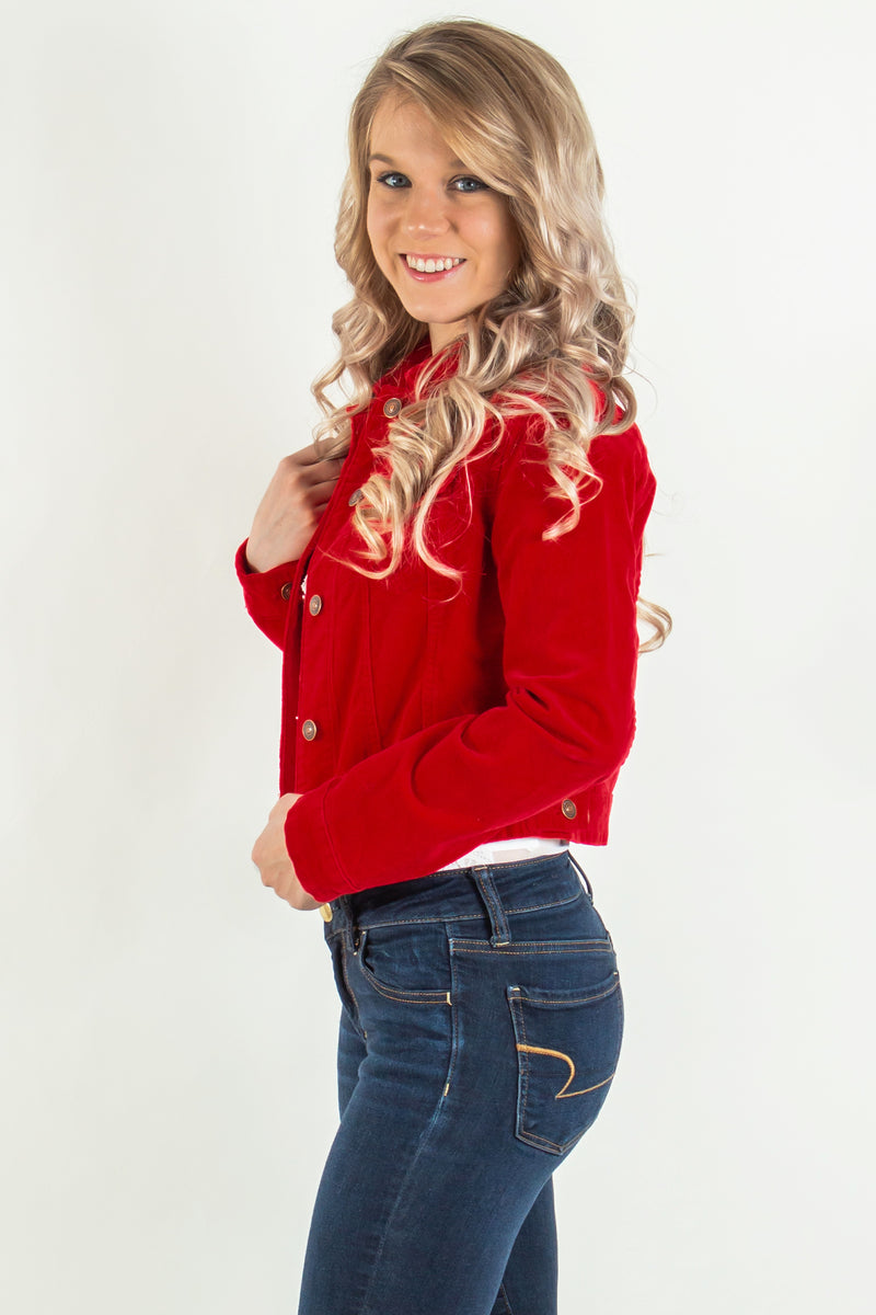 trendy red cropped jacket, trendy cropped jacket