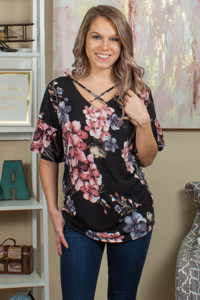 Every Little Thing Floral Top (Black)