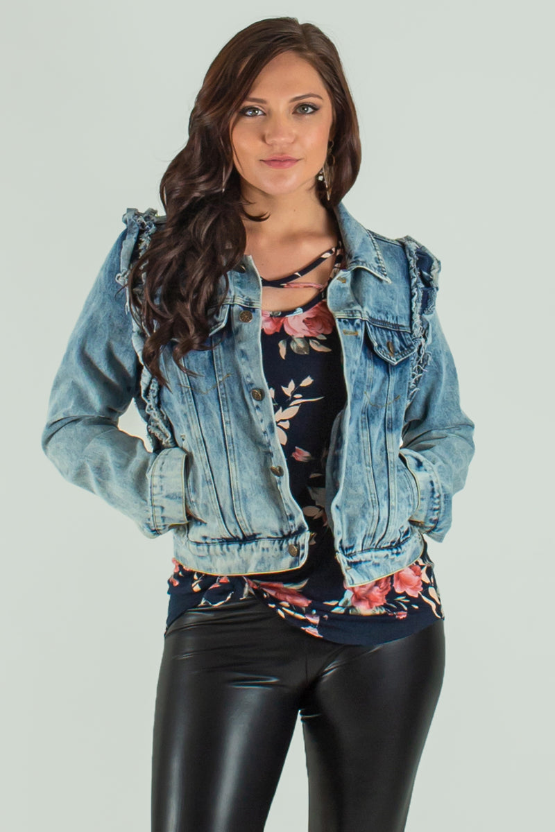 trendy ruffle jacket, trendy ruffle jean jacket