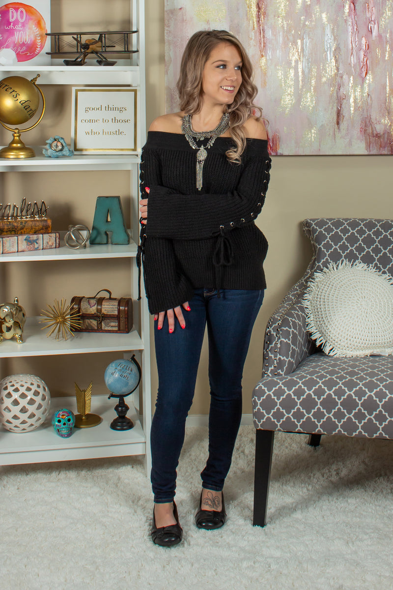 Cute Off the Shoulder Top, Cute Black Off the Shoulder Sweater