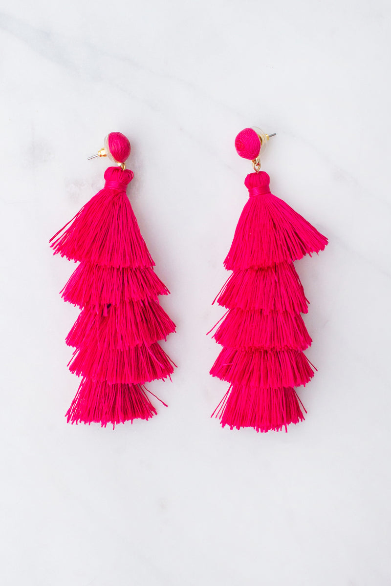 boutique earrings, fashion earrings, fuschia earrings, fuchsia earrings