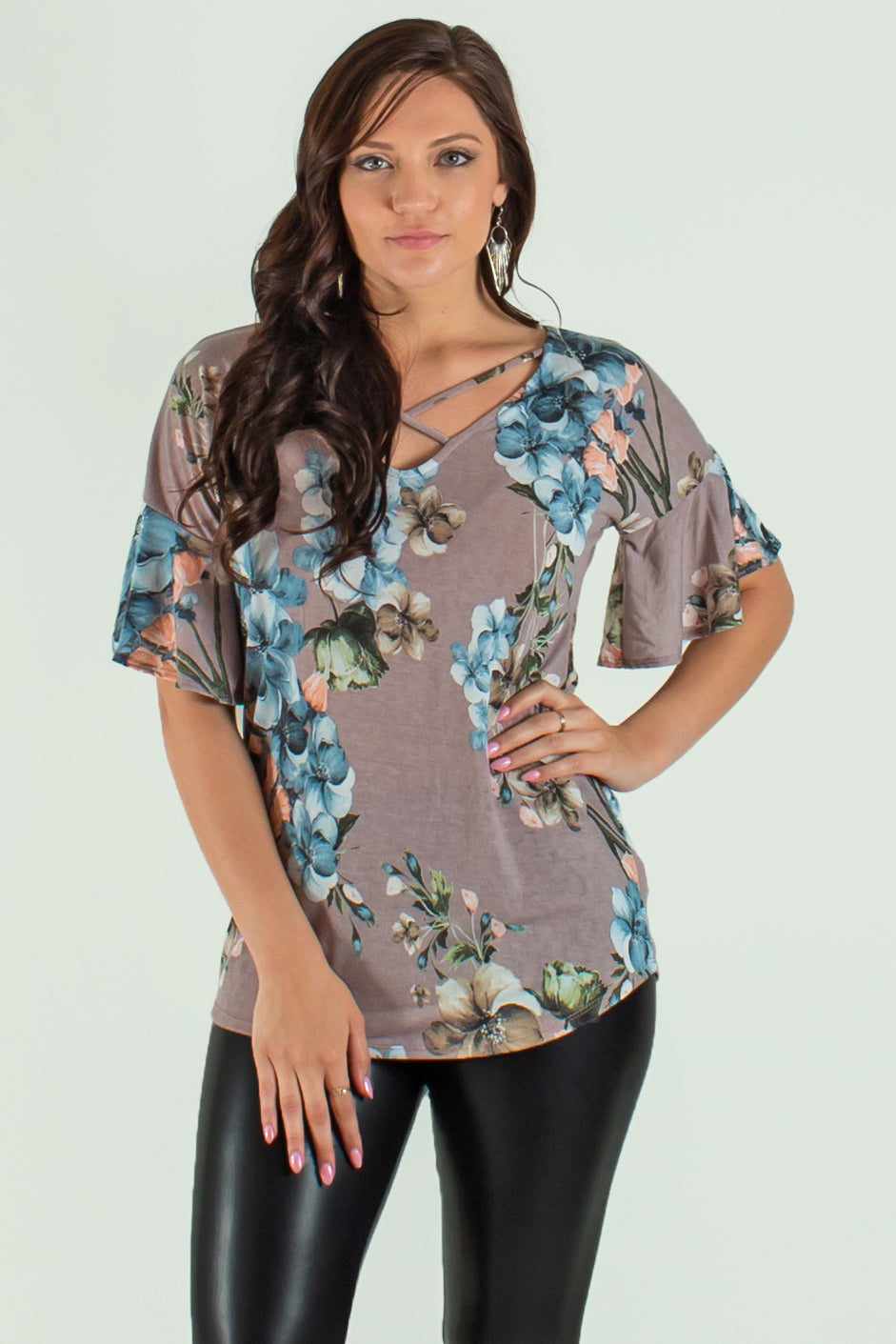 taupe floral top, taupe floral blouse
