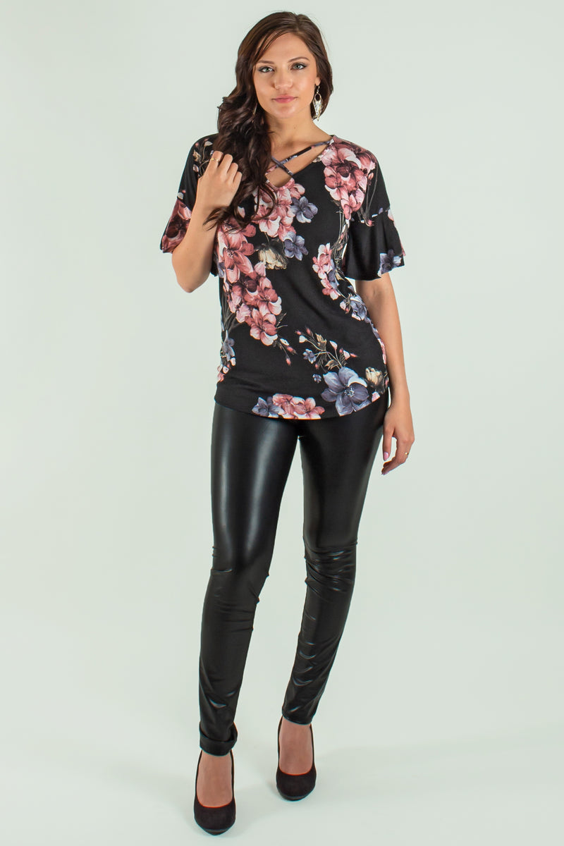 Trendy black floral top, Trendy black floral blouse, Trendy tops