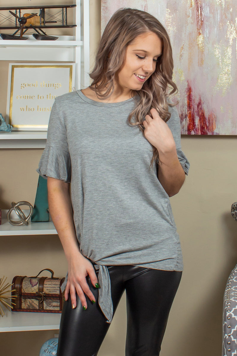 Trendy grey blouse, Trendy gray blouse, Trendy side tie top, Trendy grey side tie top