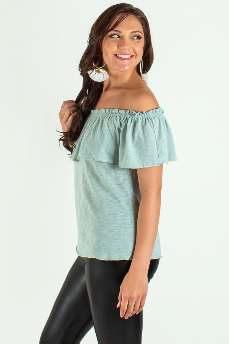 seafoam off the shoulder blouse, green top