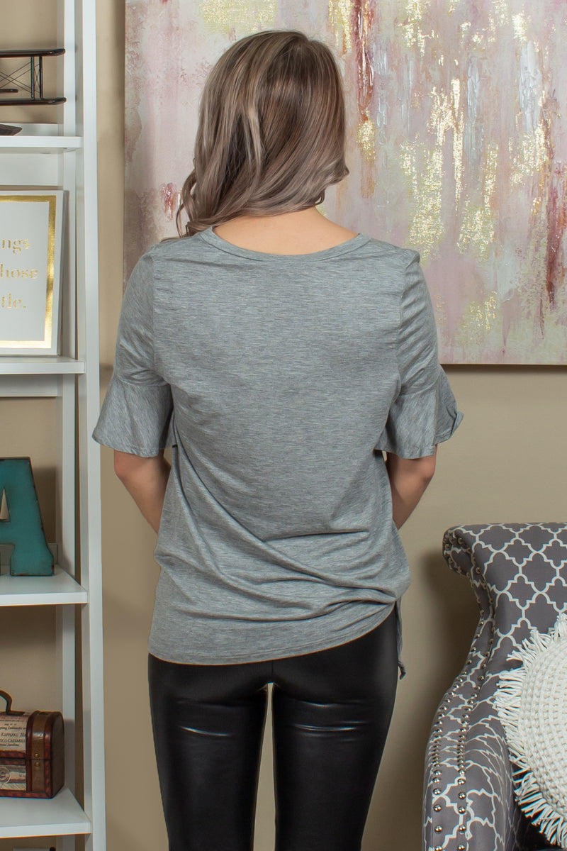 Boutique tee, Boutique blouses, Gray shirt, Grey shirt