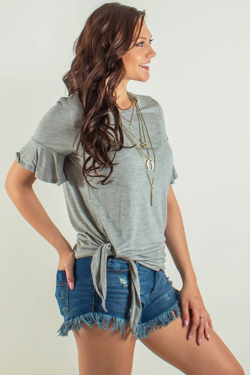 Grey side tie top, Gray side tie top, Grey tee, Gray tee