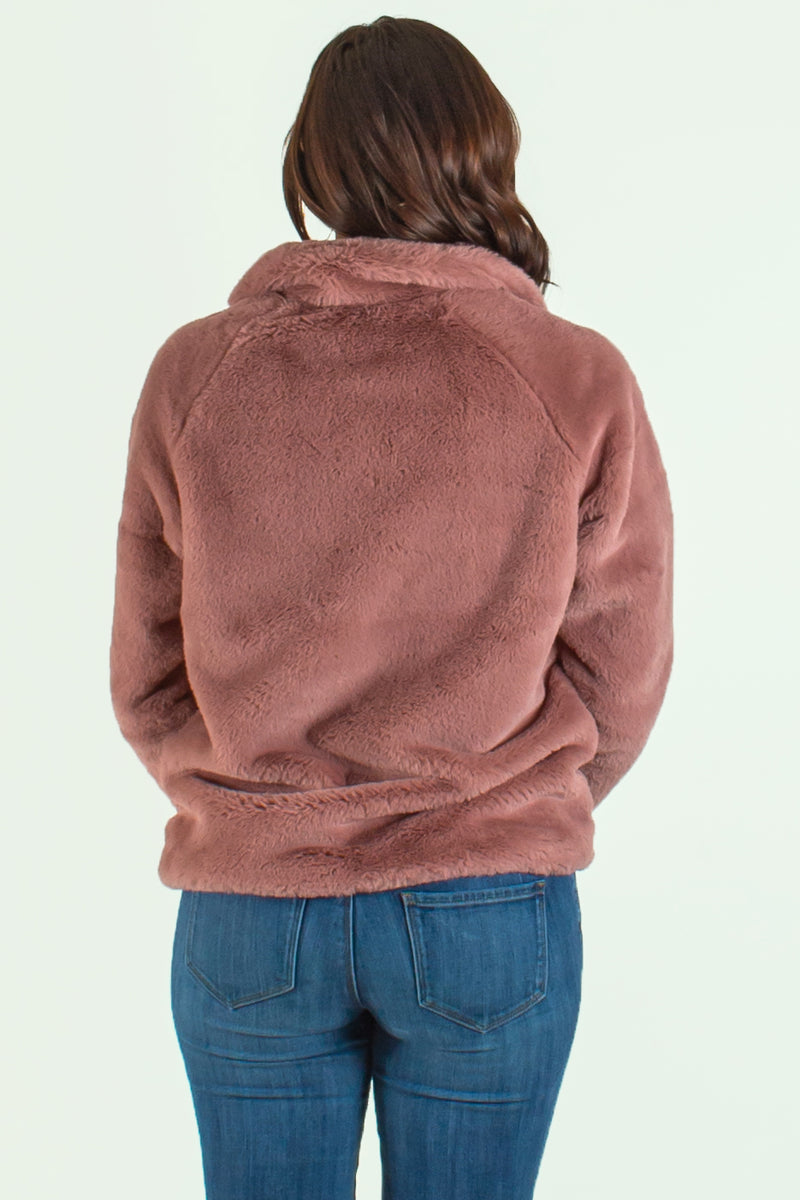 womens fuzzy pullover, mauve fuzzy pullover, boutique fuzzy pullover