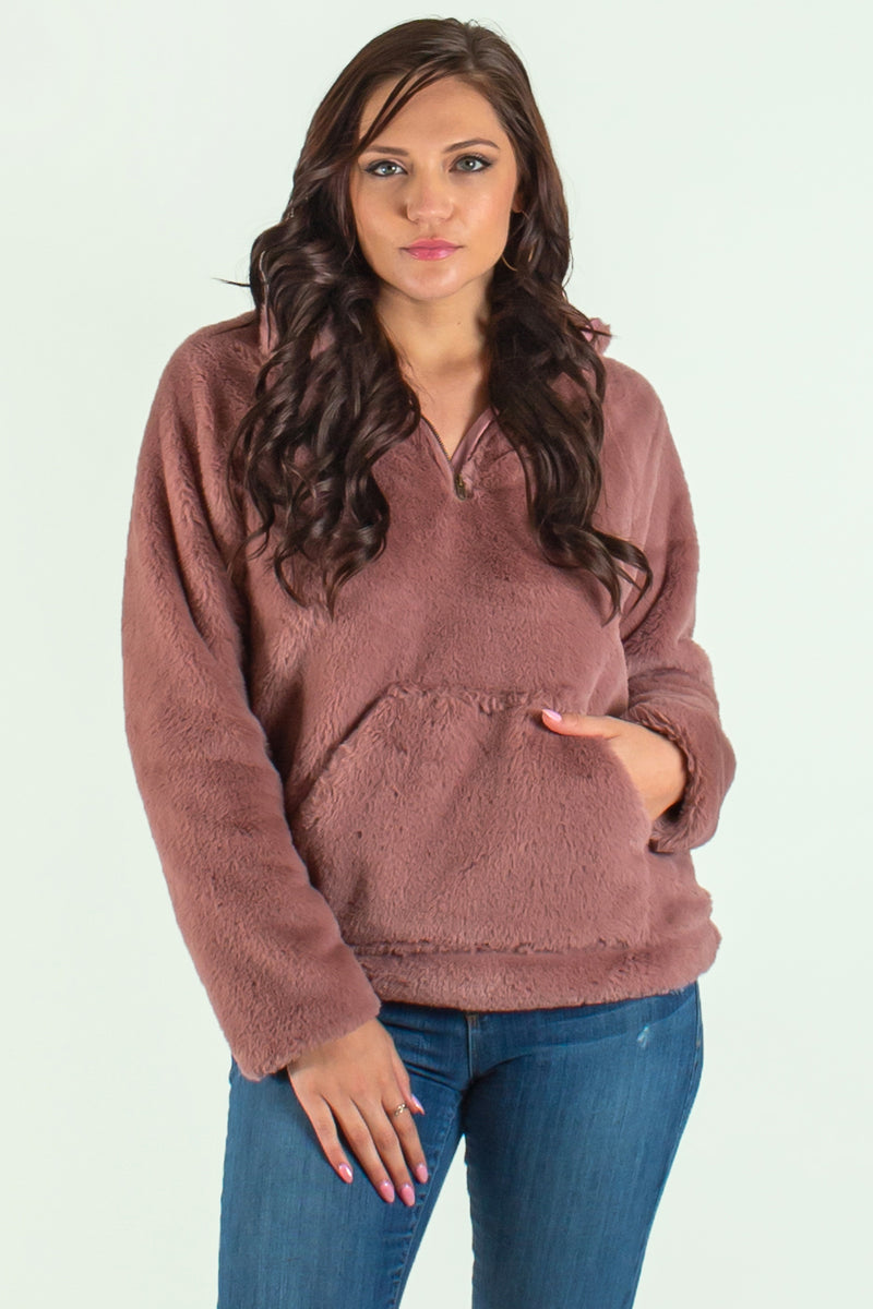 cute mauve fleece pullover, trendy pullover, trendy pink pullover