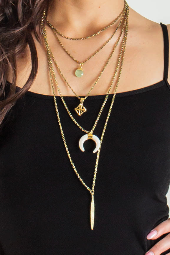 Moon Child Multi Layered Crescent Necklace (Gold)