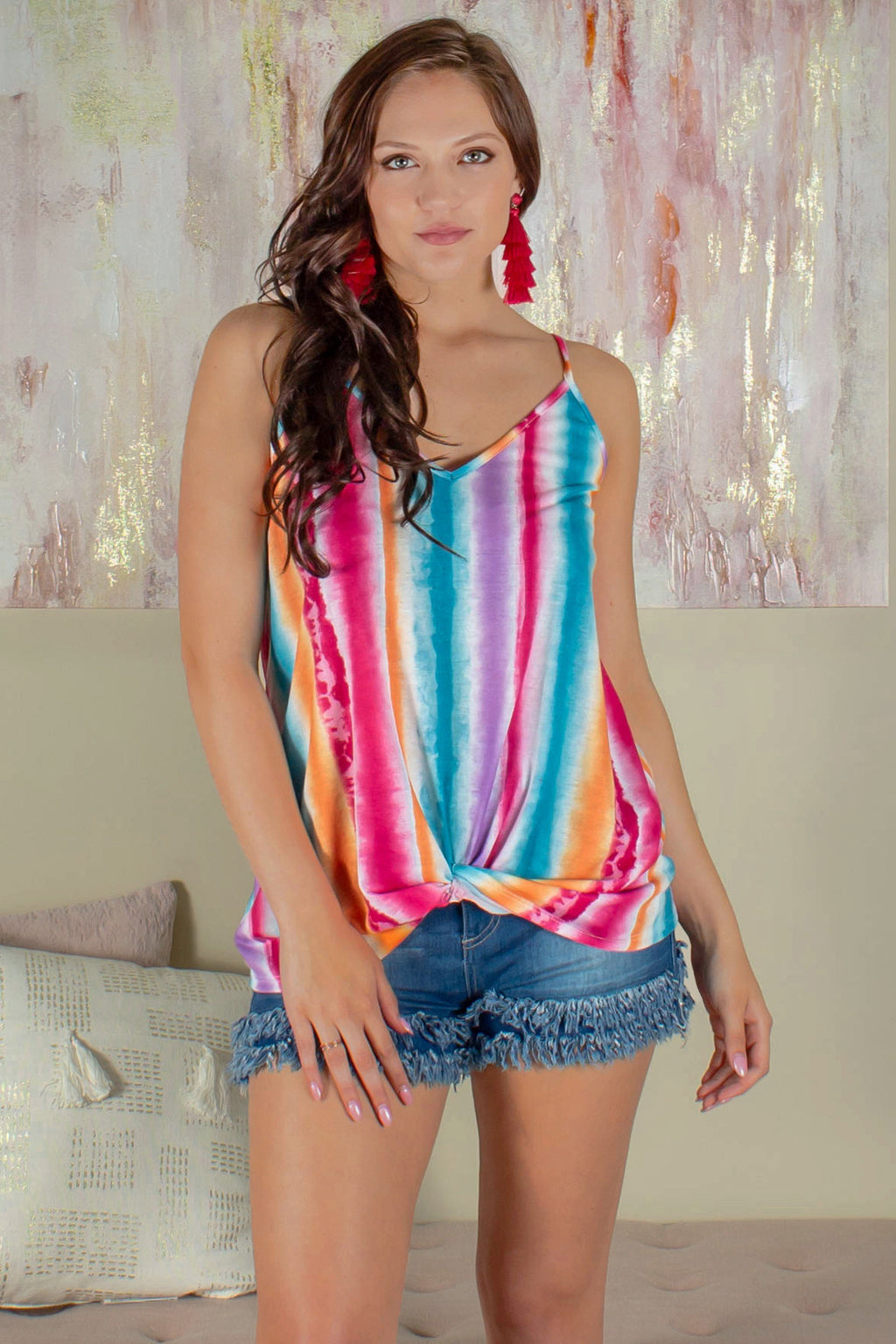 Tank Top, Rainbow Tank Top, Multicolored Tank Top, Striped Tank Top